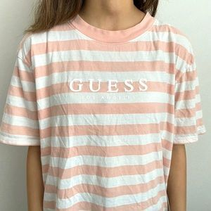 Guess Los Angeles Pink Striped Tee Shirt